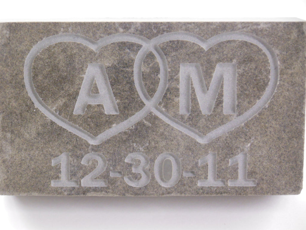 Love Custom Initial Stone Wedding Anniversary gift Engraved 3.5in.x6in.