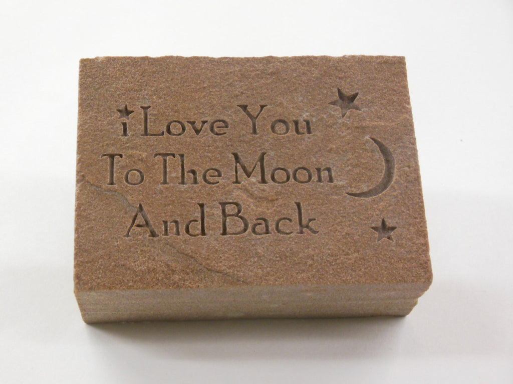 "Engraved Redstone Stone ""I Love You to the Moon and Back""  4in.x3.5in.x1.5in."