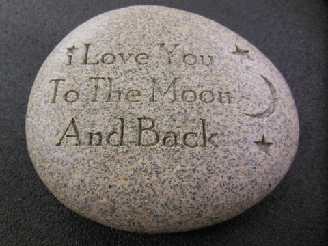 "Engraved Message Beach Stone Gift Paperweight  ""I Love You to the Moon and Back"""