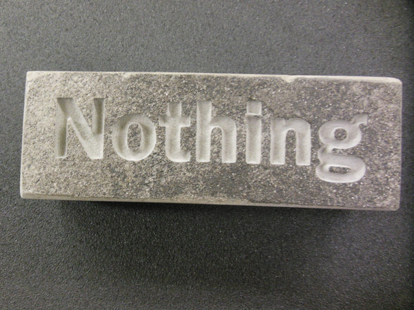 "Engraved Silvermist ""Nothing is ever carved in Stone"" gift paperweight 6in.x2in.x1.5in."