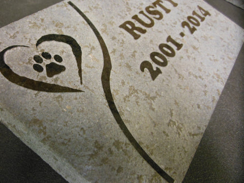 Dog Memorial Cat Memorial Pet Head Stone Grave Marker Engraved Natural Grey Stone Dog or Cat Name paw Date - 5 Inches x 9 Inches
