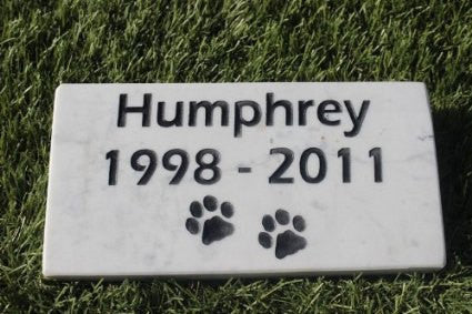 Marble Pet Memorial with Pet Name and Years  4 inches x 8 Inches