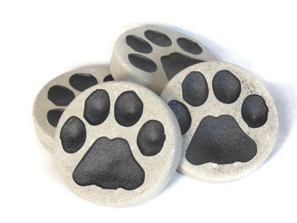 "Garden Pet Stone Engraved Paw Print Paperweight Outdoor Decoration 3"" Dog Cat    NS"