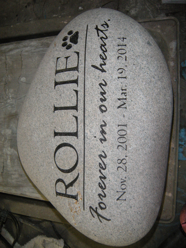 "Personalized Pet Memorial Stone Grave Marker Dog Cat Headstone 7"" to 8"""