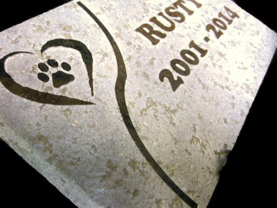 "Personalized Pet Memorial Reverse Sandblast Engraved Granite Headstone Grave Marker 5"" x 8"" Garden Stepping Stone  Dog Cat    NS"