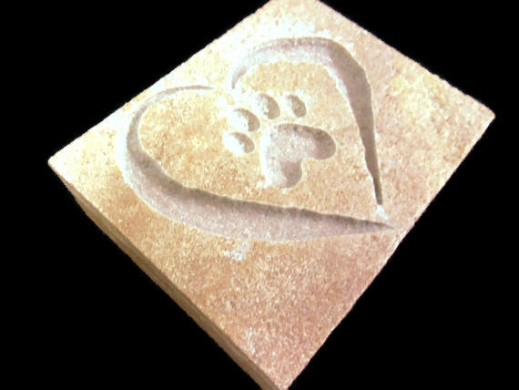 "Pet Memorial Garden Stone Sandblast Engraved Natural Stone Tile Heart and Paw Print  4"" x 3""    NS"