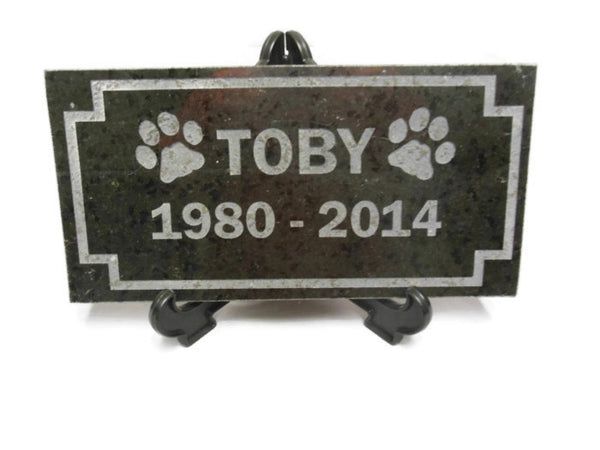 "Personalized Sandblast Engraved Granite Pet Grave Marker Garden Stone 6"" x 12"" Dog Cat    NS"
