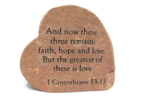 1 Corinthians Sandblast Engraved Heart Garden Decor 8in.x6in.