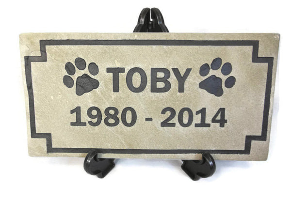 "Personalized Pet Memorial Sandblast Engraved Gray Headstone Grave Marker Garden Stepping Stone Dog Cat 6"" x 12""   NS"
