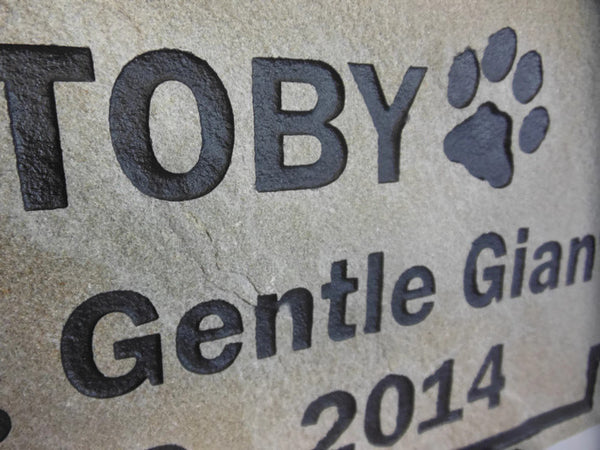 "Personalized Pet Memorial Gray Stone Grave Marker Sandblast Engraved Garden Headstone Dog Cat 6"" x 12"" Square Border    NS"