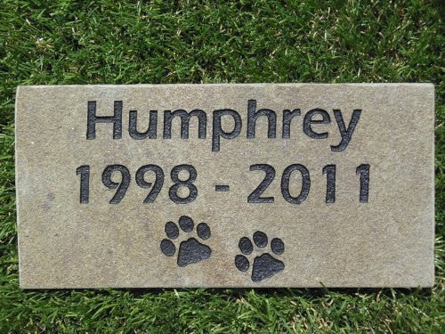 "Sandblast Engraved Gray Stone Personalized Grave Marker Garden Stepping Stone Pet Memorial 4"" x 8"" Dog Cat NDP    GR2GH3051"