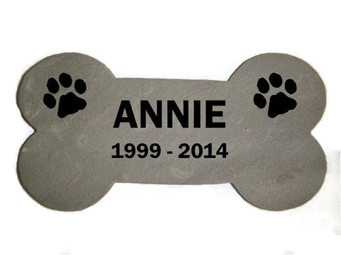 "Personalized Pet Memorial Garden Stepping Stone Sandblast Engraved Natural Stone Grave Marker 6"" x 12"" Dog Bone    NS"