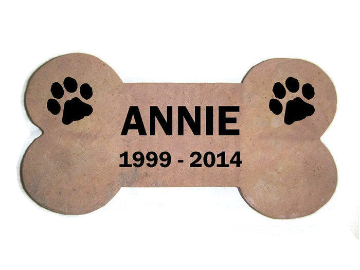 "Personalized Pet Memorial Headstone Grave Marker Red Stone Garden Stepping Stone 6"" x 12"" Dog Bone    NS"