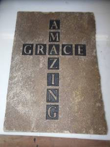 "Stepping Stone Sandblast Engraved Natural Stone Decorative Inspirational ""Amazing Grace""  Cross 10x8x1in."