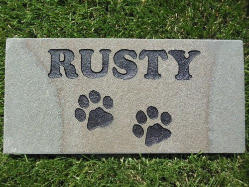 "Sandblast Engraved Gray Stone Personalized Grave Marker Garden Stepping Stone Pet Memorial 4"" x 8"" NP Dog Cat    GR3BH3053"