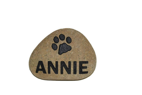 River Rock Stone Pet Memorial Dog or Cat Name paw Date - 8 Inches