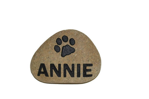Grey Stone Dog or Cat Name paw Date - 7 Inches x 7 Inches