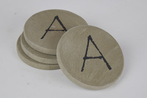 Personalized Stone Coasters Sandblast Engraved Round Stone with Intial Set of 4