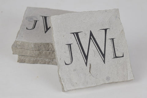 Personalized Stone Coaster Set of 4 Sandblast Engraved Square Light Gray Stone
