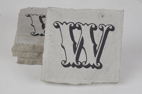 Personalized Stone Coaster Set Engraved Stone With Fancy Customized Initial Monogram For Wedding Anniversary Gift Set of 4