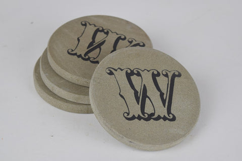 Personalized Stone Coasters Sandblast Engraved Round Light Gray Stone With Fancy Intial Set of 4
