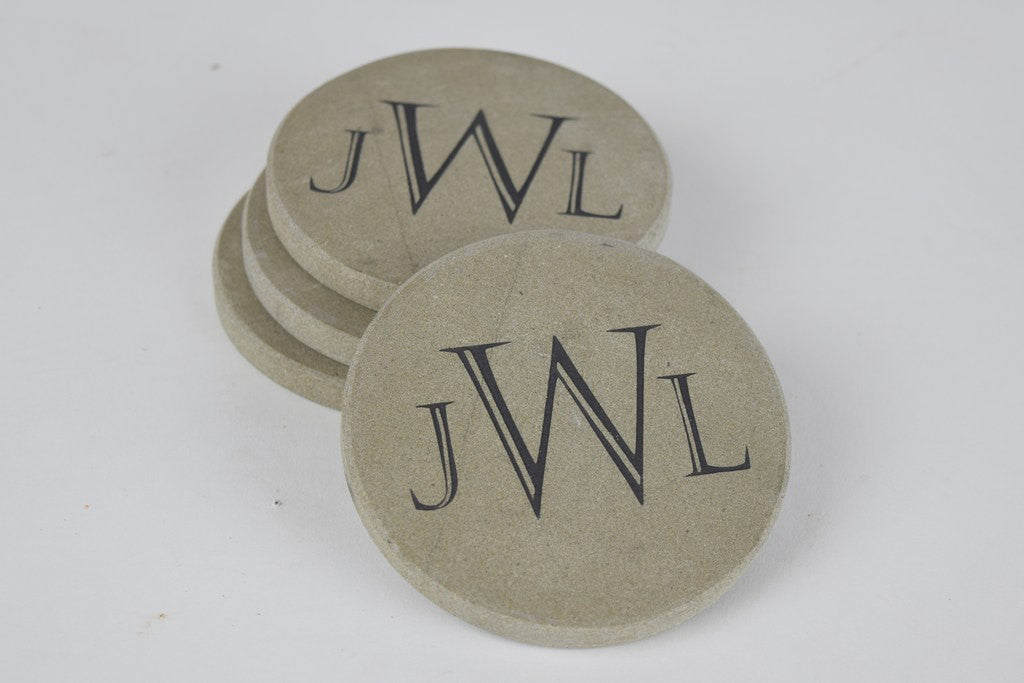 Personalized Stone Coaster Set of 4 Sandblast Engraved Round Stone