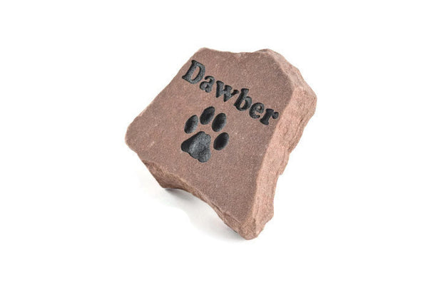 Personalized Engraved Red Stone Pet Memorial Headstone Grave Marker Dog Cat npp