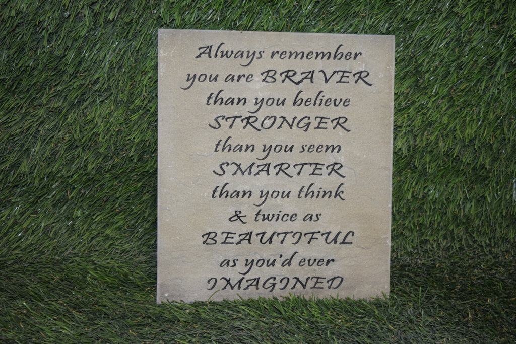 "Inspirational Garden Stepping Stone Sandblast Engraved Natural Stone Decorative Inspirational ""Always Remember"" 10"" x 8"""