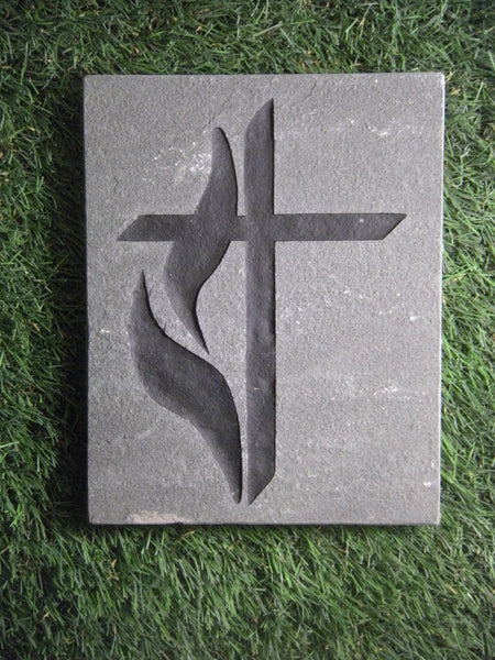 "Inspirational Garden Stepping Sandblast Engraved Natural Stone Methodist Cross Decorative 10"" x 8"""