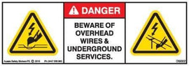 BEWARE OVERHEAD AND UNDERGROUND SERVICES (Horizontal)