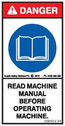 READ MACHINE MANUAL BEFORE OPERATING MACHINE (Vertical)
