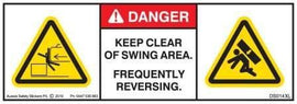 KEEP CLEAR OF SWING AREA-FREQUENTLY REVERSING (Horizontal)