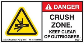 KEEP CLEAR OF OUTRIGGERS (Horizontal)