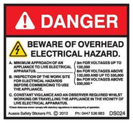 BEWARE OVERHEAD ELECTRICAL HAZARD