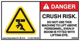 CRUSH RISK-DO NOT USE TO LIFT ABOVE PERSONNEL -LIFTING EYE (Horizontal)