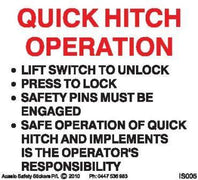 QUICK HITCH OPERATION INSTRUCTIONS