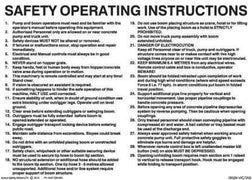 SAFETY OPERATING INSTRUCTIONS FOR CONCRETE BOOM PUMP FOR VIC AND TAS
