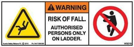 AUTHORISED PERSONS ONLY ON LADDER-RISK OF FALL (Horizontal)