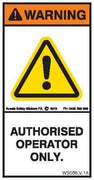 AUTHORISED OPERATOR ONLY (Vertical)