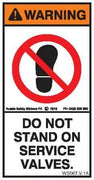 DO NOT STAND ON SERVICE VALVES (Vertical)