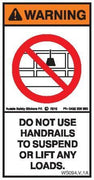 DO NOT SUSPEND FROM HANDRAILS (Vertical)