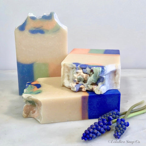 Apricotsicle Milk Soap. Three handmade soap bars. Cream with blue, green and peach stripe design.