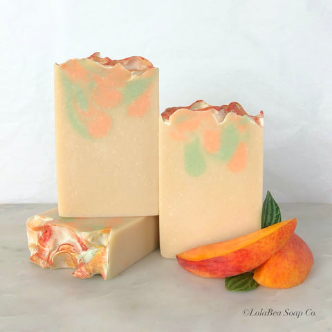 Peaches and Cream Buttermilk Soap. Handmade artisan soap bars. Cream, peach and soft green.
