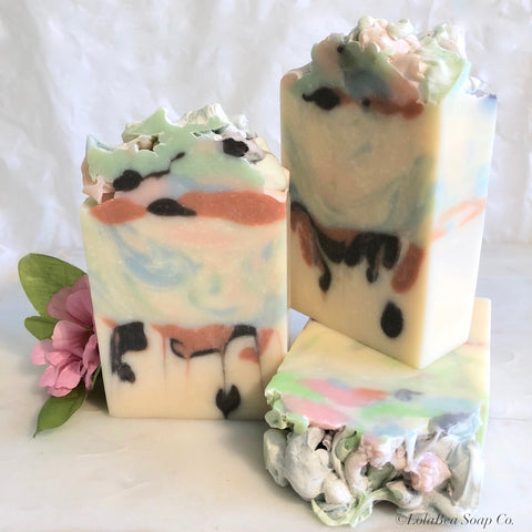 Persephone's Kiss Buttermilk Soap. Handmade soap bars. Drops of color. Pink, blue, mint green, copper and dark brown.
