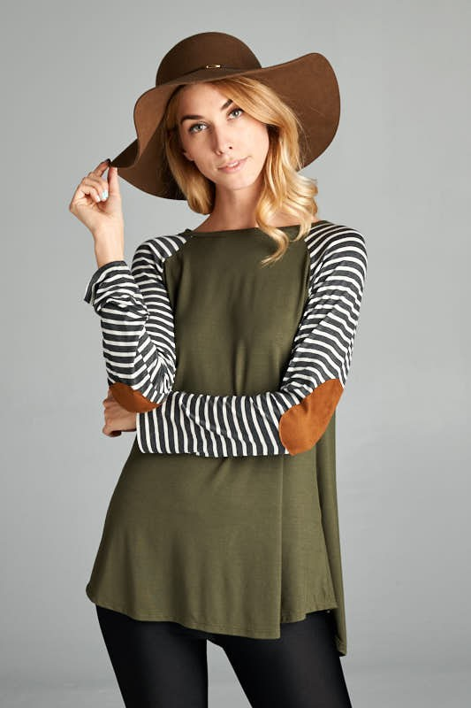 Stripe Raglan Elbow Patch Top