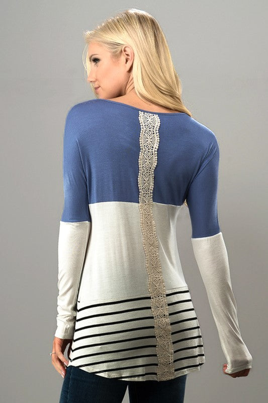 Stripe & Solid Long Sleeve Top with Lace Detail