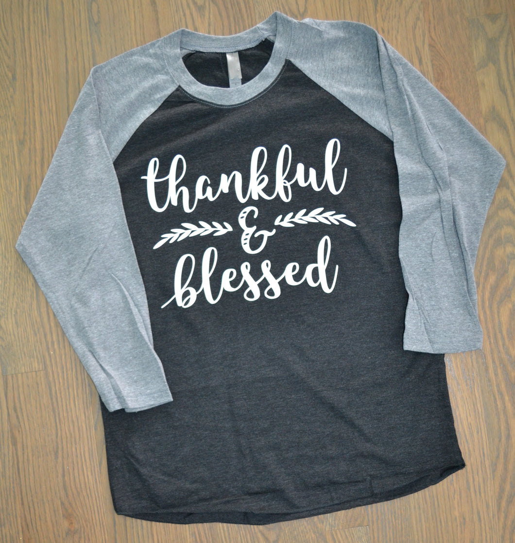 Thankful & Blessed - baseball top