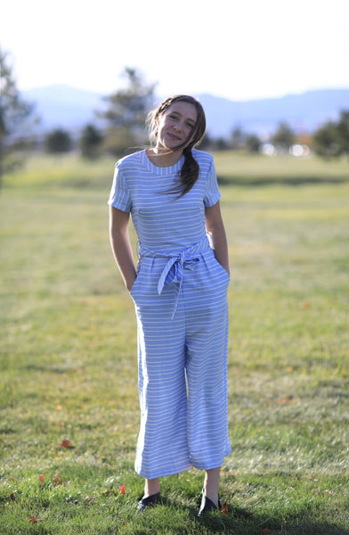 Blue and white striped jumper