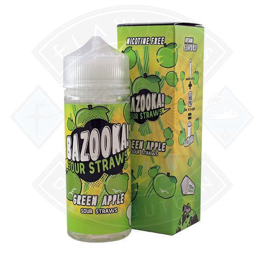 Bazooka Sour Straws Green Apple 0mg 100ml Shortfill