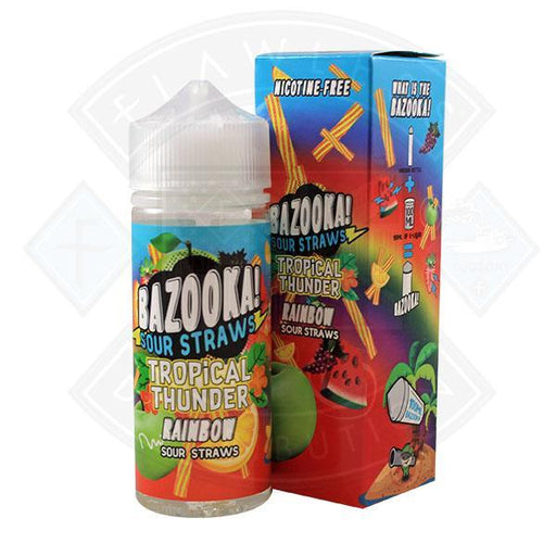 Bazooka Sour Straws - Tropical Thunder Rainbow 0mg 100ml Shortfill
